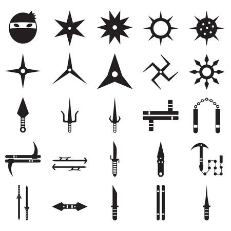 set of japanese ninja weapons Illustration