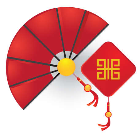 chinese hand fan with wall hanging Illustration