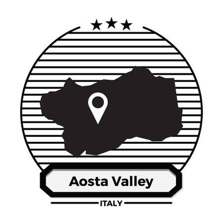 Aosta vallée carte étiquette Banque d'images - 81534408