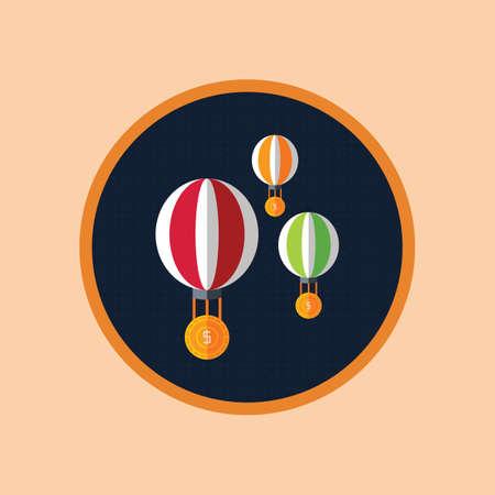 Balão de ar quente com moeda de dólar Foto de archivo - 81533377
