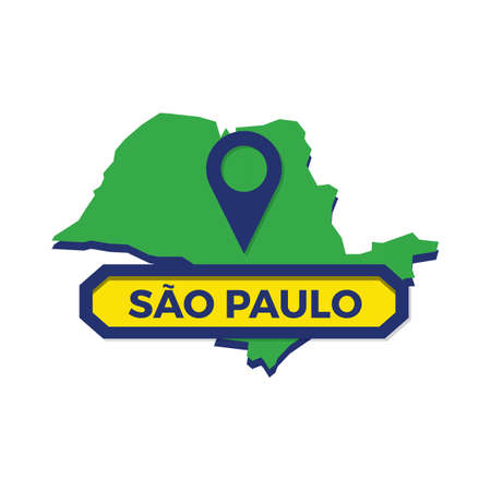 sao paulo map with map pin