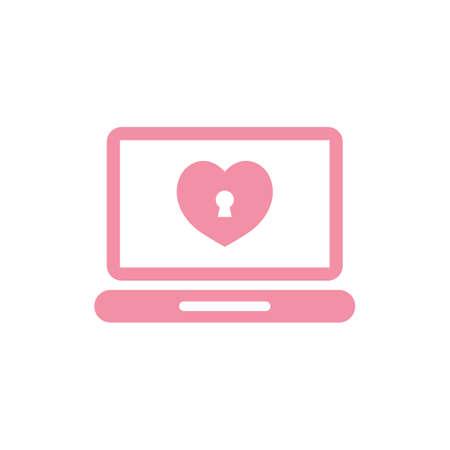 심장 잠금 장치가있는 노트북 스톡 콘텐츠 - 81484164