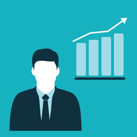 businessman and progress chart bar