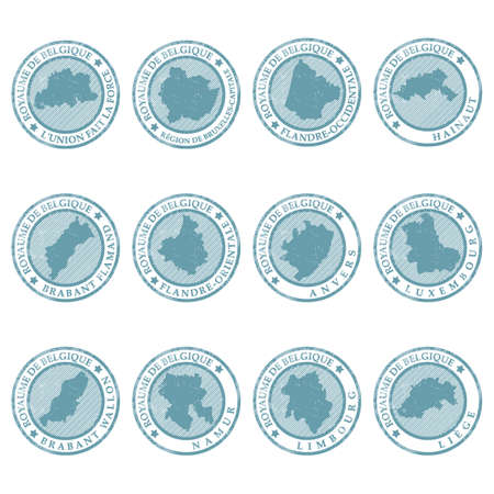 Set van belgische provincie kaartert rubberzegels Stock Illustratie