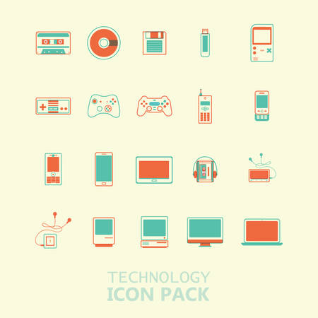 Collection of technology icons
