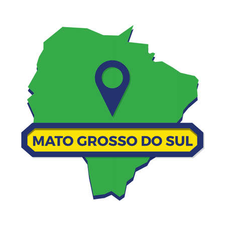 mato grosso do sul map with map pin Иллюстрация