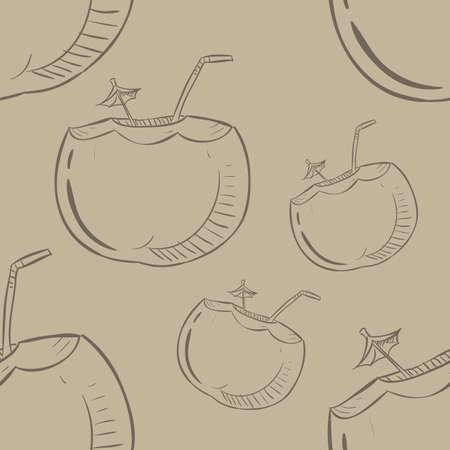 코코넛 패턴 배경 일러스트