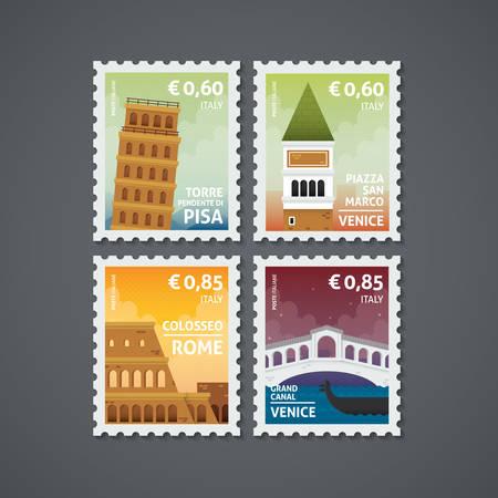 reeks postzegels van Italië Stock Illustratie