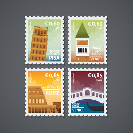 set of italy postage stamps