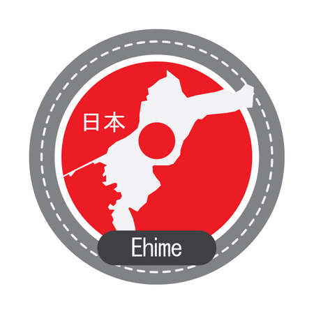 geographical: Ehime map Illustration