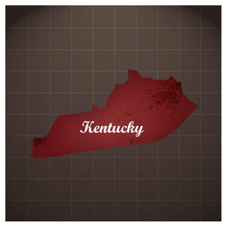 ケンタッキー州地図  イラスト・ベクター素材