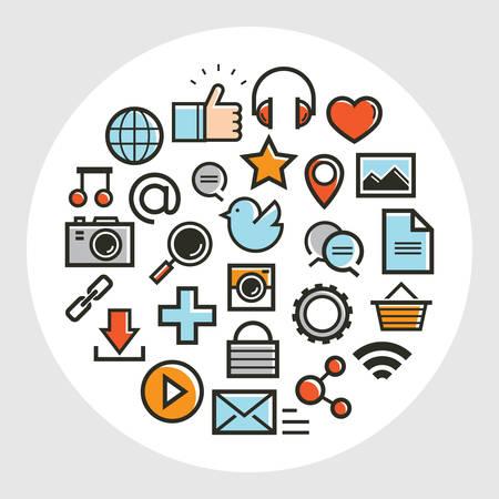 A set of social media icons illustration.