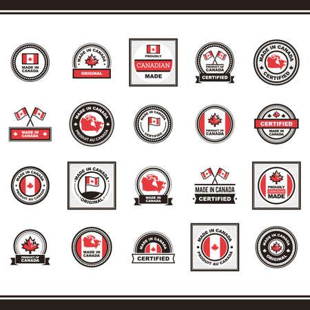メイドイン カナダのコレクションはラベルの図です。  イラスト・ベクター素材