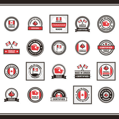 A collection of made in canada labels illustration.
