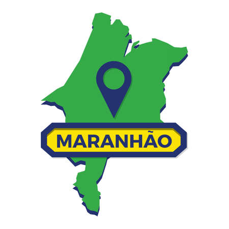 maranhao map with map pin Ilustrace