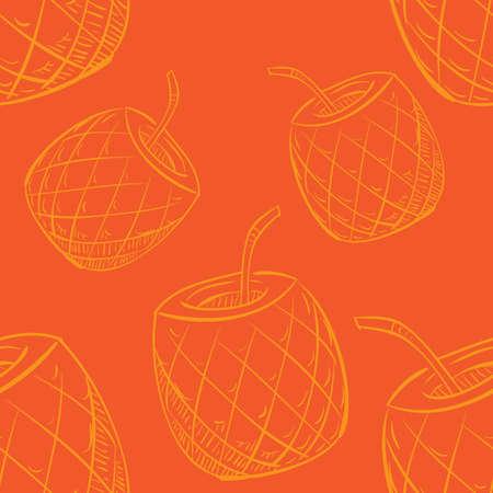 パイナップル カクテル パターン背景