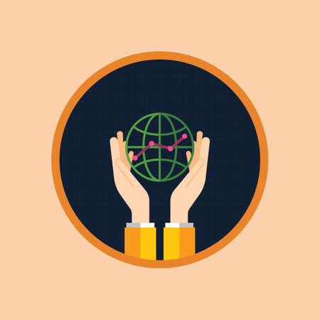 globe icon with analysis