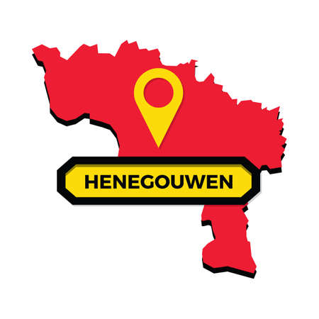 Henegouwen map with map pointer Çizim