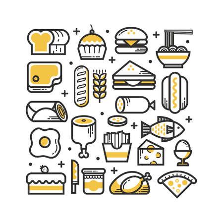 食品アイテムのイラスト集です。  イラスト・ベクター素材