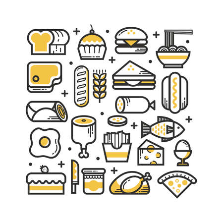 A collection of food items illustration.