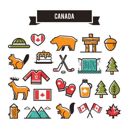 カナダ アイコン イラスト。