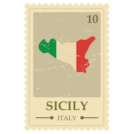 Sicily map postage stamp