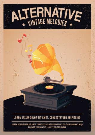 vintage record player poster Stok Fotoğraf - 81484178