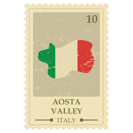 aosta valley map postage stamp