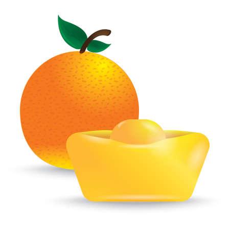 orange with gold ingot Illusztráció