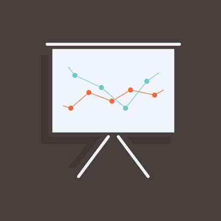 Projector scherm met analyse Stock Illustratie