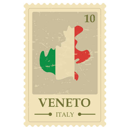 veneto map postage stamp 向量圖像
