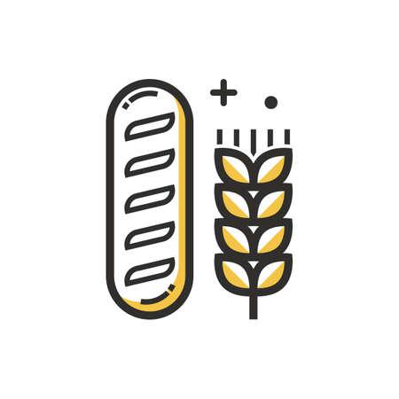 フランスパンと小麦の図。