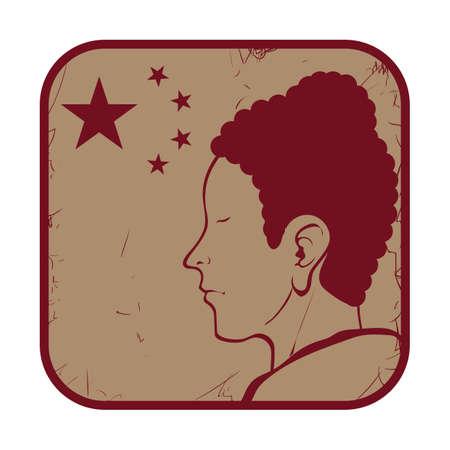 china flag with man Illustration