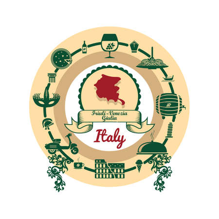 friuli venezia giulia map label Illustration