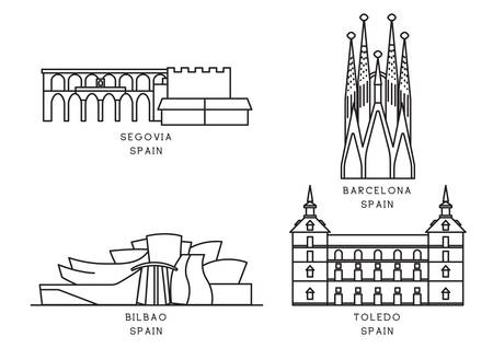 Collection of spain landmarks 向量圖像