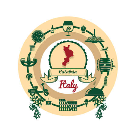 calabria map label Illustration
