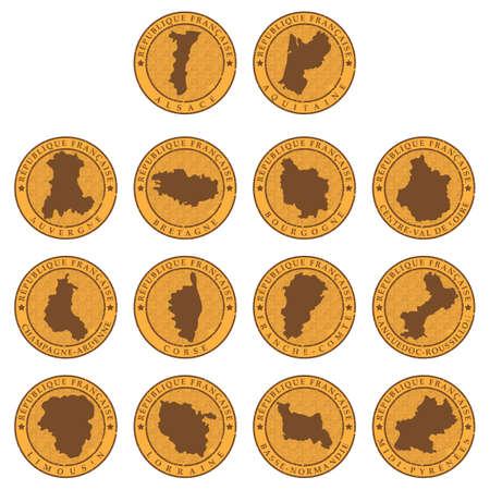 Set van frankrijk provincie kaarten