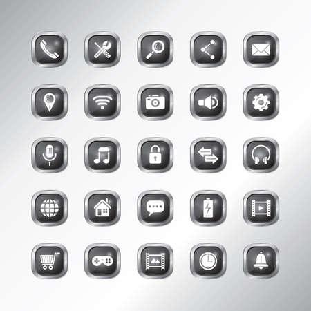 mobile app icon set  イラスト・ベクター素材