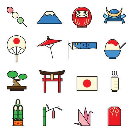 日本のアイコンのセット