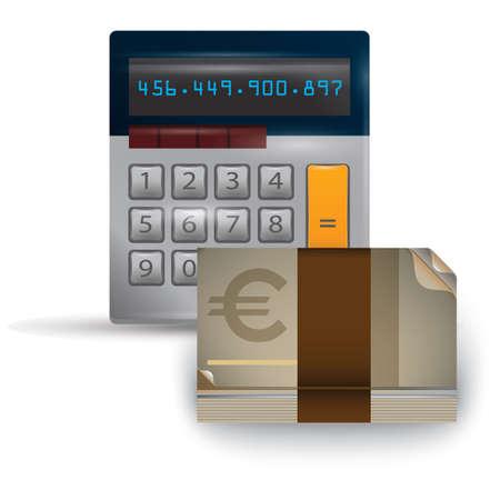 ユーロ通貨の計算機  イラスト・ベクター素材