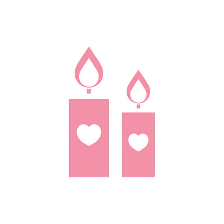 candles with heart symbols