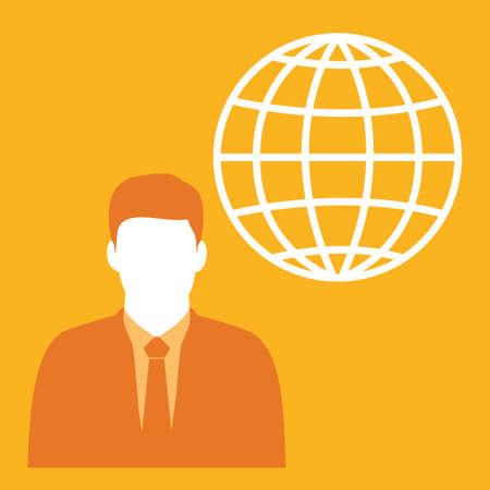 businessman and globe icon Ilustração