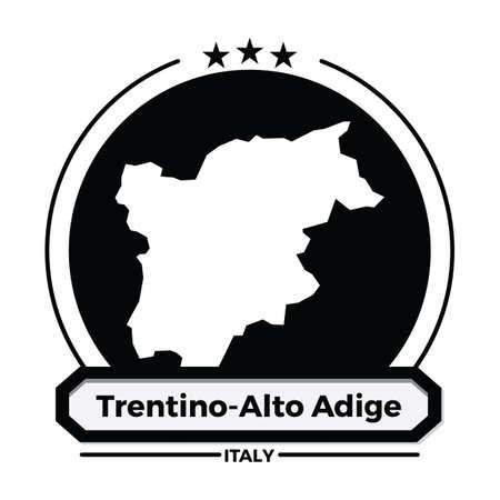 trentino-alto adiege map label Illustration