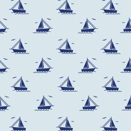 A seamless sailing ships pattern illustration.