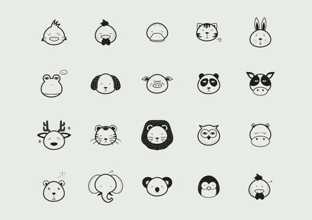 A collection of animal faces illustration. Illustration