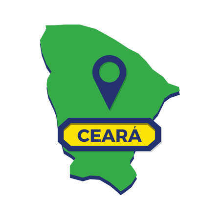 ceara map with map pin Ilustrace