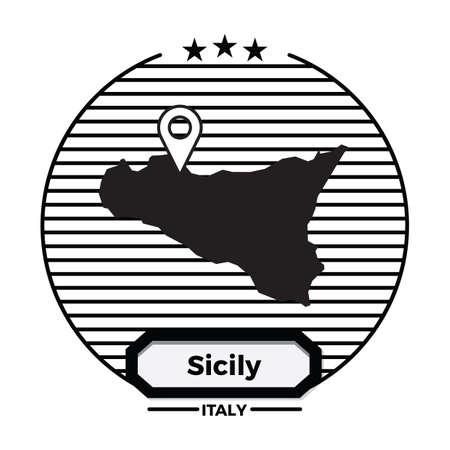 sicily map label Ilustrace