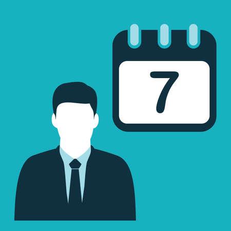 実業家とカレンダー  イラスト・ベクター素材