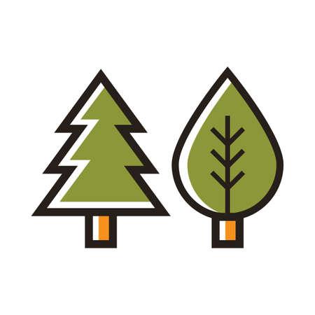 松の木と葉のイラスト。