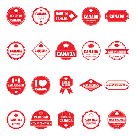Collection of made in canada labels Illustration